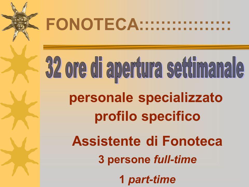 FONOTECA::::::::::::::::: personale specializzato profilo specifico Assistente di Fonoteca 3 persone full-time 1 part-time