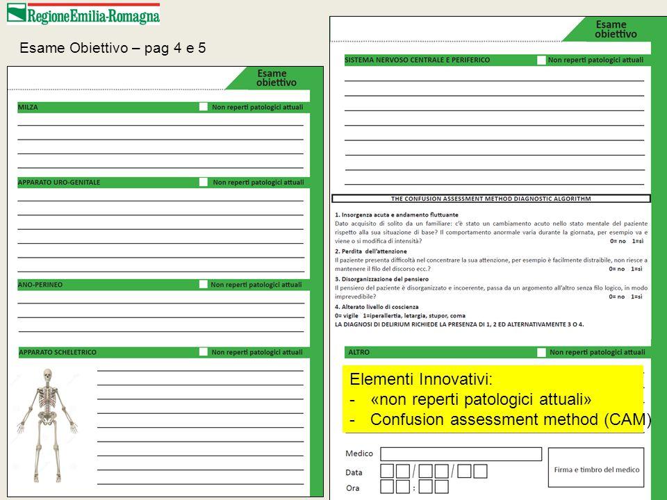 Elementi Innovativi: -«non reperti patologici attuali» -Confusion assessment method (CAM) Esame Obiettivo – pag 4 e 5