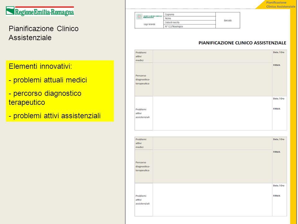 Pianificazione Clinico Assistenziale Elementi innovativi: - problemi attuali medici - percorso diagnostico terapeutico - problemi attivi assistenziali