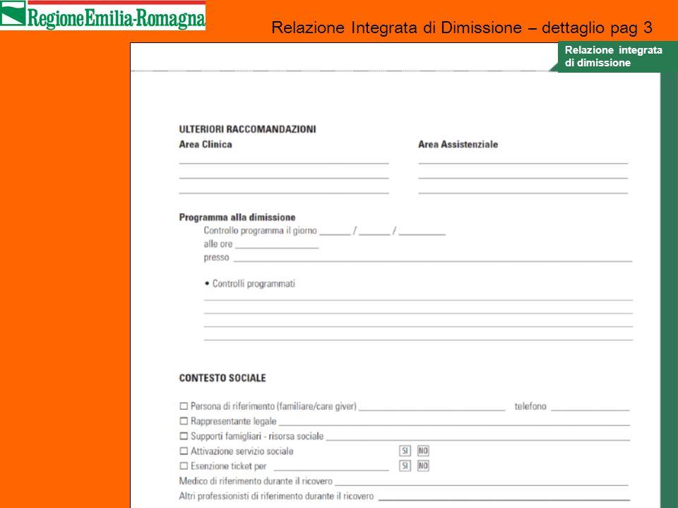 Relazione Integrata di Dimissione – dettaglio pag 3 Relazione integrata di dimissione