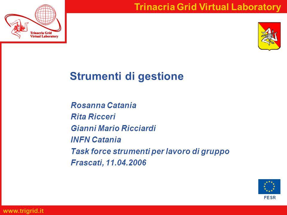 FESR www.trigrid.it Trinacria Grid Virtual Laboratory Strumenti di gestione Rosanna Catania Rita Ricceri Gianni Mario Ricciardi INFN Catania Task force strumenti per lavoro di gruppo Frascati, 11.04.2006