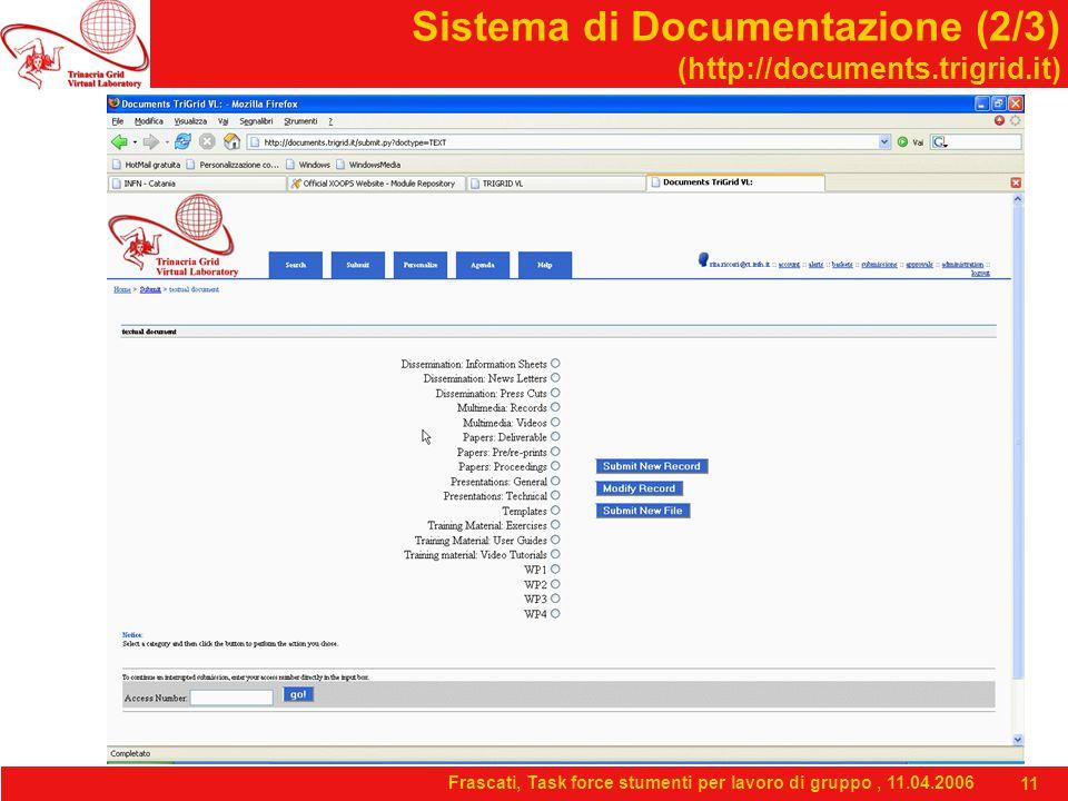 Frascati, Task force stumenti per lavoro di gruppo, 11.04.2006 11 Sistema di Documentazione (2/3) (http://documents.trigrid.it)
