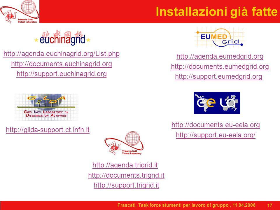 Frascati, Task force stumenti per lavoro di gruppo, 11.04.2006 17 Installazioni già fatte http://agenda.euchinagrid.org/List.php http://documents.euchinagrid.org http://support.euchinagrid.org http://agenda.eumedgrid.org http://documents.eumedgrid.org http://support.eumedgrid.org http://documents.eu-eela.org http://support.eu-eela.org/ http://gilda-support.ct.infn.it http://agenda.trigrid.it http://documents.trigrid.it http://support.trigrid.it