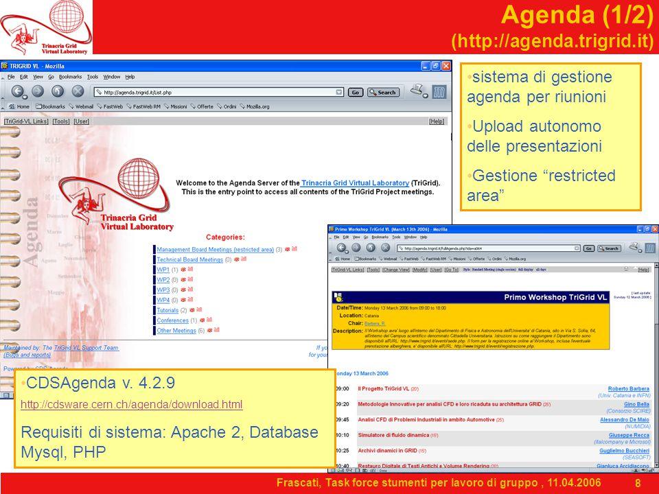 Frascati, Task force stumenti per lavoro di gruppo, 11.04.2006 8 Agenda (1/2) (http://agenda.trigrid.it) CDSAgenda v. 4.2.9 http://cdsware.cern.ch/age