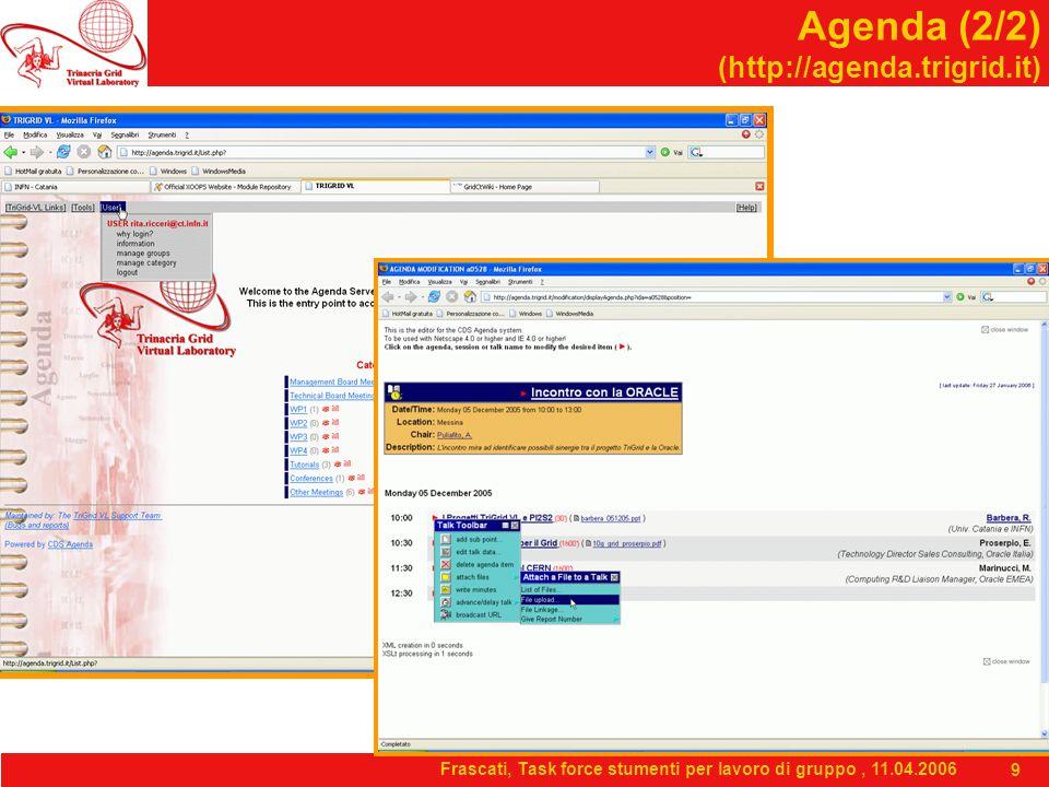 Frascati, Task force stumenti per lavoro di gruppo, 11.04.2006 9 Agenda (2/2) (http://agenda.trigrid.it)