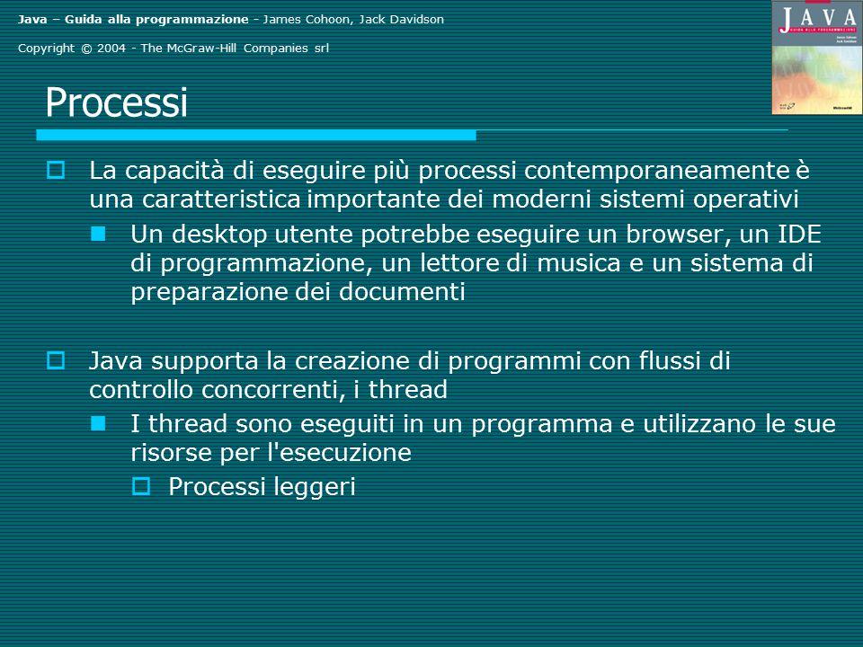 Java – Guida alla programmazione - James Cohoon, Jack Davidson Copyright © 2004 - The McGraw-Hill Companies srl Processi