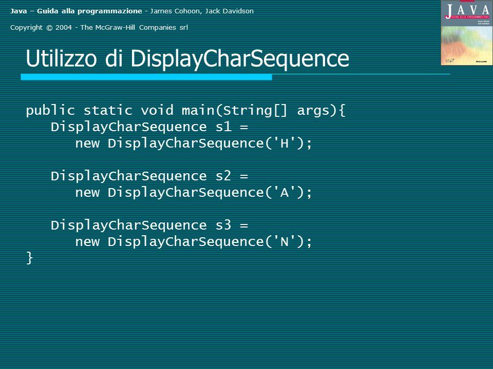 Java – Guida alla programmazione - James Cohoon, Jack Davidson Copyright © 2004 - The McGraw-Hill Companies srl Utilizzo di DisplayCharSequence public
