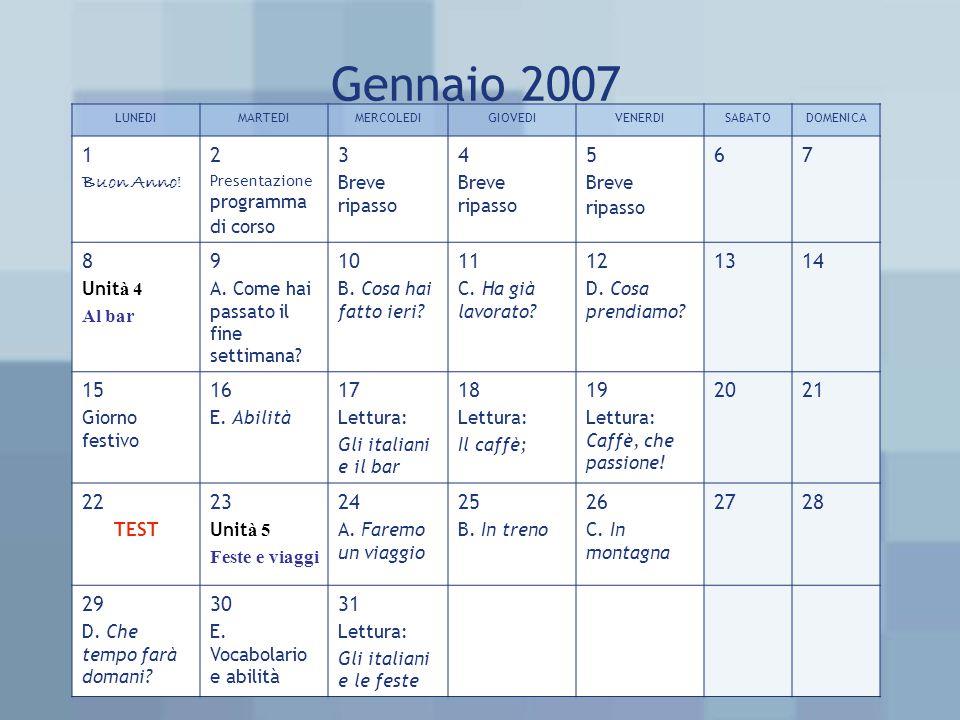 Gennaio 2007 LUNEDIMARTEDIMERCOLEDIGIOVEDIVENERDISABATODOMENICA 1 Buon Anno! 2 Presentazione programma di corso 3 Breve ripasso 4 Breve ripasso 5 Brev