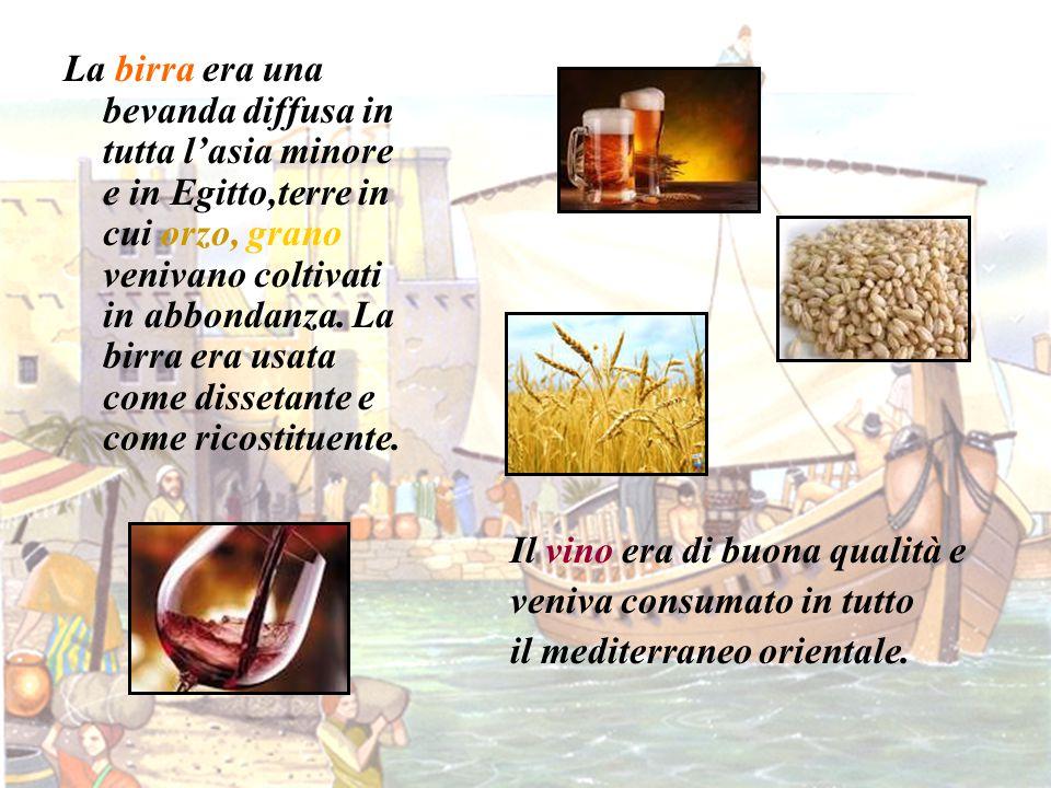 La birra era una bevanda diffusa in tutta l'asia minore e in Egitto,terre in cui orzo, grano venivano coltivati in abbondanza. La birra era usata come