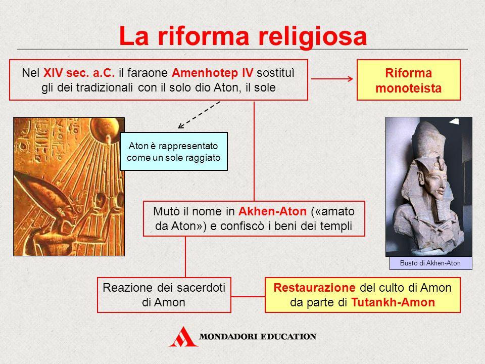 La riforma religiosa Restaurazione del culto di Amon da parte di Tutankh-Amon Riforma monoteista Reazione dei sacerdoti di Amon Mutò il nome in Akhen-