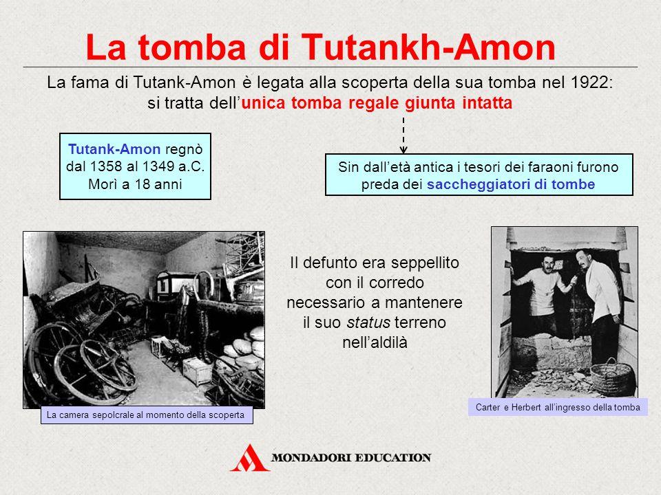 La tomba di Tutankh-Amon La fama di Tutank-Amon è legata alla scoperta della sua tomba nel 1922: si tratta dell'unica tomba regale giunta intatta Sin