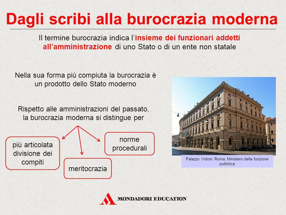 Dagli scribi alla burocrazia moderna Il termine burocrazia indica l'insieme dei funzionari addetti all'amministrazione di uno Stato o di un ente non s