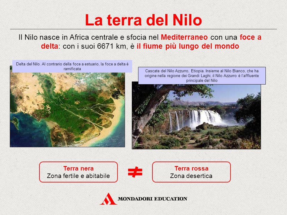 La terra del Nilo Il Nilo nasce in Africa centrale e sfocia nel Mediterraneo con una foce a delta: con i suoi 6671 km, è il fiume più lungo del mondo