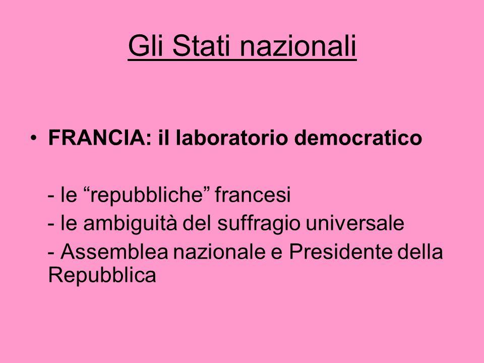"""Gli Stati nazionali FRANCIA: il laboratorio democratico - le """"repubbliche"""" francesi - le ambiguità del suffragio universale - Assemblea nazionale e Pr"""