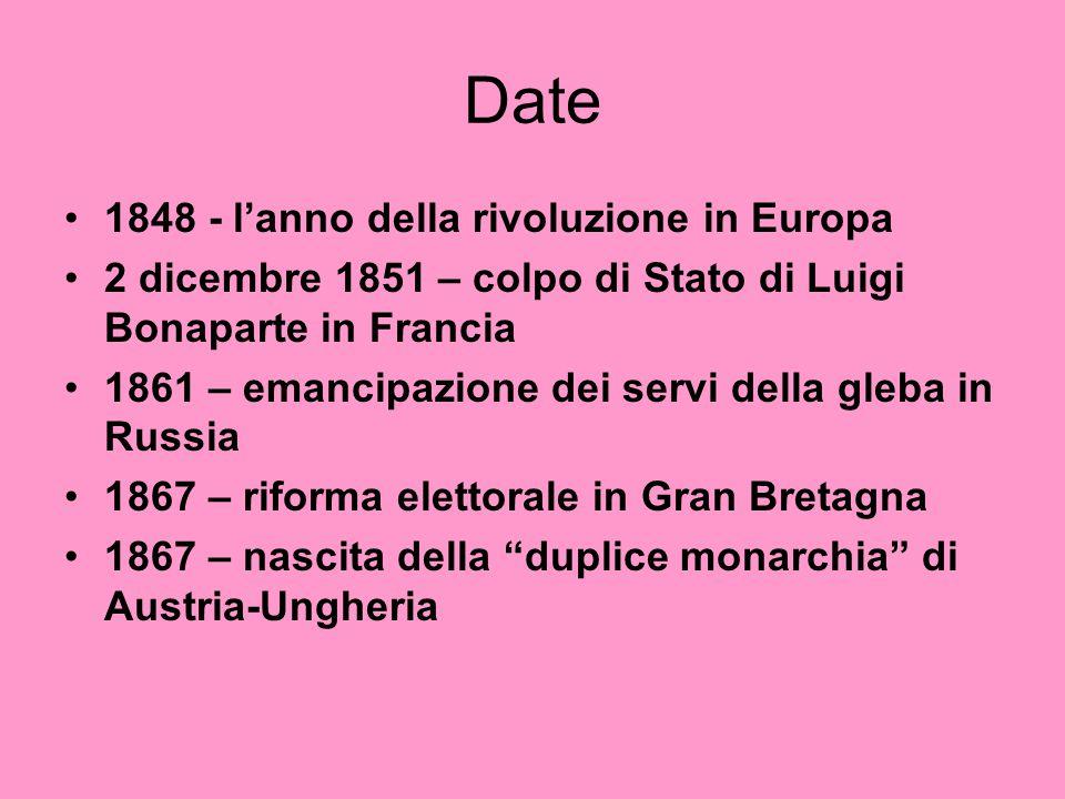 Date 1848 - l'anno della rivoluzione in Europa 2 dicembre 1851 – colpo di Stato di Luigi Bonaparte in Francia 1861 – emancipazione dei servi della gle