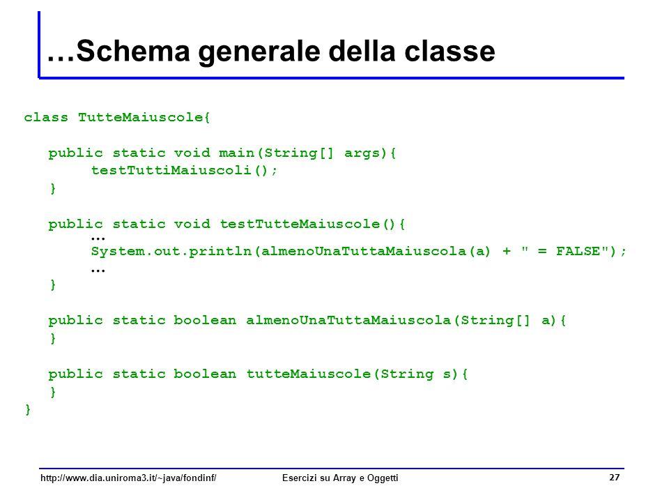 27 http://www.dia.uniroma3.it/~java/fondinf/Esercizi su Array e Oggetti …Schema generale della classe class TutteMaiuscole{ public static void main(String[] args){ testTuttiMaiuscoli(); } public static void testTutteMaiuscole(){ … System.out.println(almenoUnaTuttaMaiuscola(a) + = FALSE ); … } public static boolean almenoUnaTuttaMaiuscola(String[] a){ } public static boolean tutteMaiuscole(String s){ }