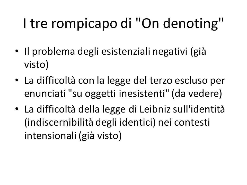 I tre rompicapo di On denoting Il problema degli esistenziali negativi (già visto) La difficoltà con la legge del terzo escluso per enunciati su oggetti inesistenti (da vedere) La difficoltà della legge di Leibniz sull identità (indiscernibilità degli identici) nei contesti intensionali (già visto)