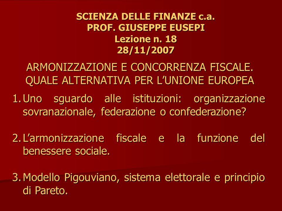 4.4.L'incompatibilità tra armonizzazione fiscale e principio di Pareto.