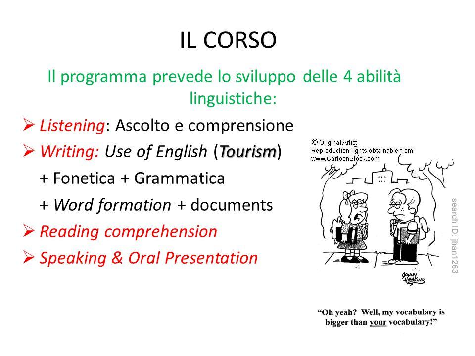 IL CORSO Il programma prevede lo sviluppo delle 4 abilità linguistiche:  Listening: Ascolto e comprensione Tourism  Writing: Use of English (Tourism