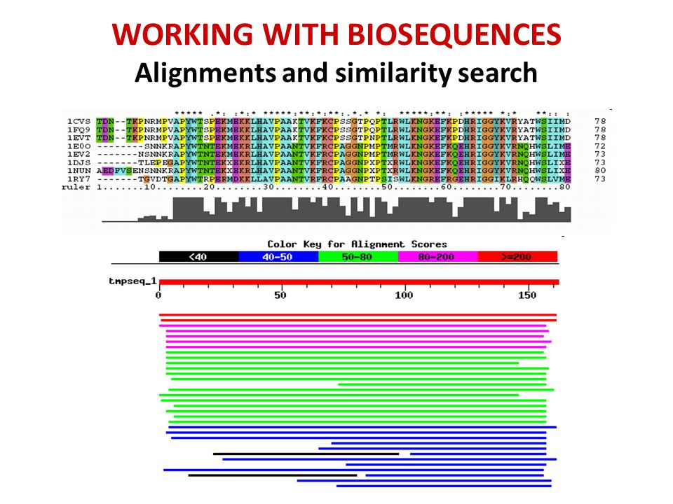 Multiple alignments Clustal Omega Tcoffee WORKING WITH BIOSEQUENCES Alignments and similarity search