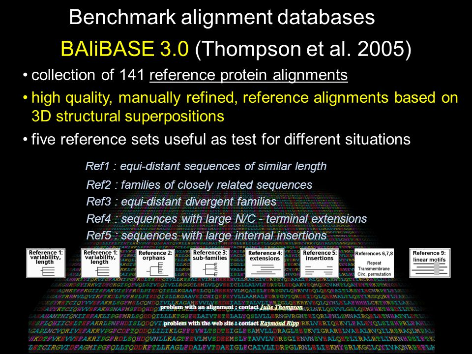 Benchmark alignment databases BAliBASE 3.0 (Thompson et al. 2005) collection of 141 reference protein alignments high quality, manually refined, refer
