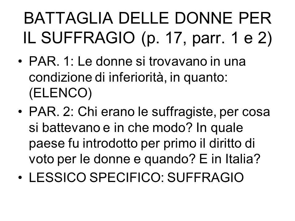 BATTAGLIA DELLE DONNE PER IL SUFFRAGIO (p. 17, parr. 1 e 2) PAR. 1: Le donne si trovavano in una condizione di inferiorità, in quanto: (ELENCO) PAR. 2
