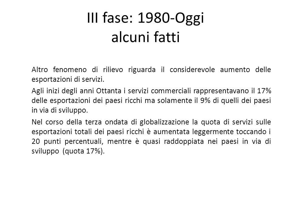 III fase: 1980-Oggi alcuni fatti Altro fenomeno di rilievo riguarda il considerevole aumento delle esportazioni di servizi. Agli inizi degli anni Otta