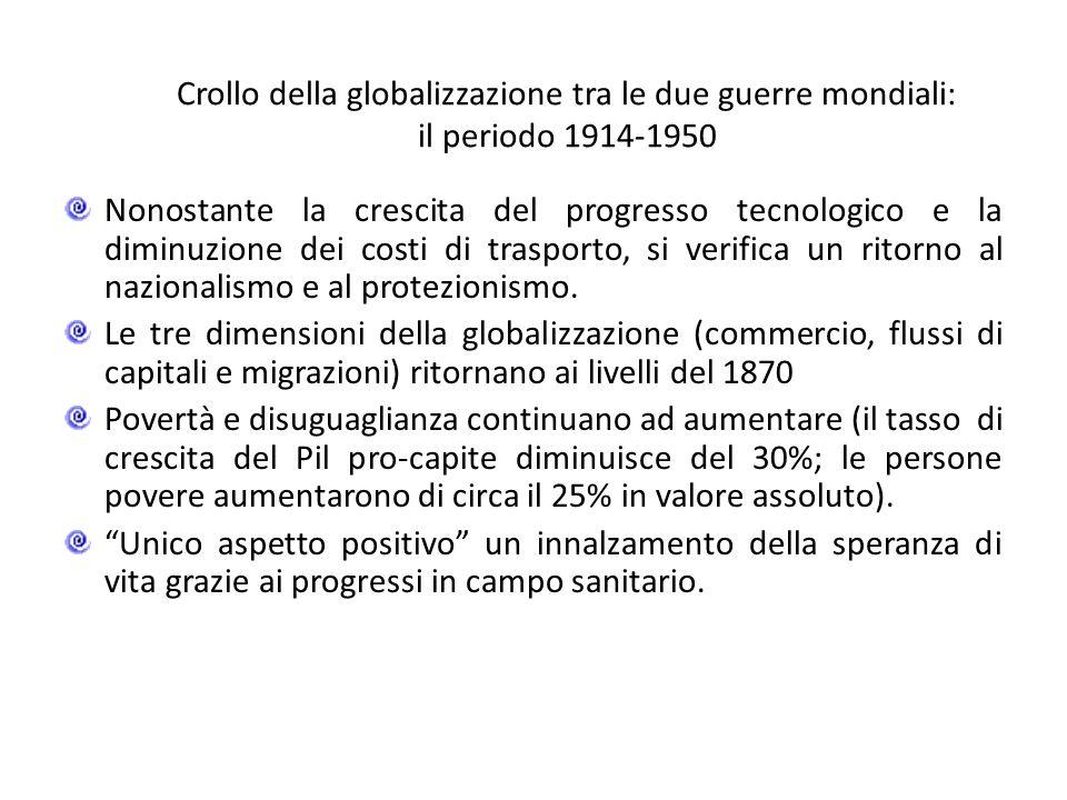 Crollo della globalizzazione tra le due guerre mondiali: il periodo 1914-1950 Nonostante la crescita del progresso tecnologico e la diminuzione dei co