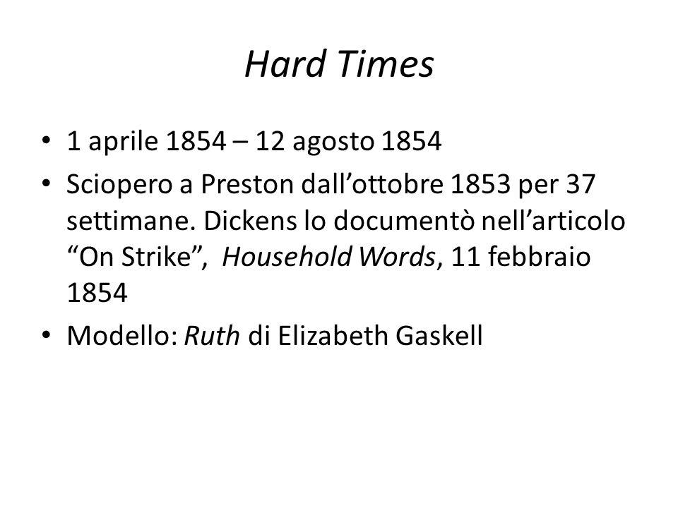 """Hard Times 1 aprile 1854 – 12 agosto 1854 Sciopero a Preston dall'ottobre 1853 per 37 settimane. Dickens lo documentò nell'articolo """"On Strike"""", House"""