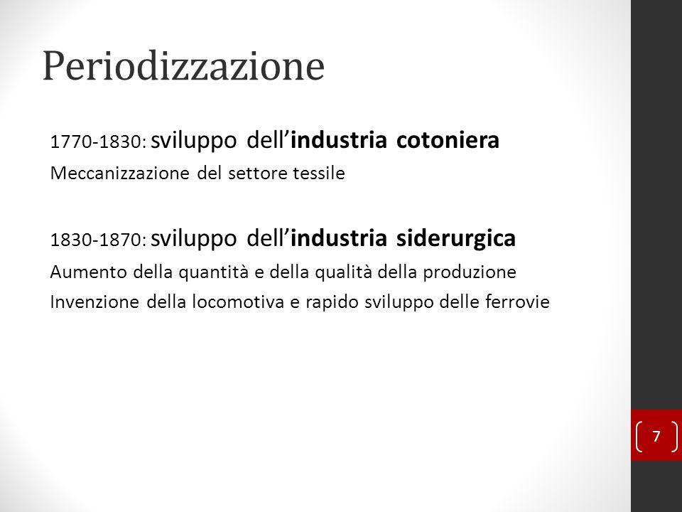 Periodizzazione 1770-1830: sviluppo dell'industria cotoniera Meccanizzazione del settore tessile 1830-1870: sviluppo dell'industria siderurgica Aumento della quantità e della qualità della produzione Invenzione della locomotiva e rapido sviluppo delle ferrovie 7