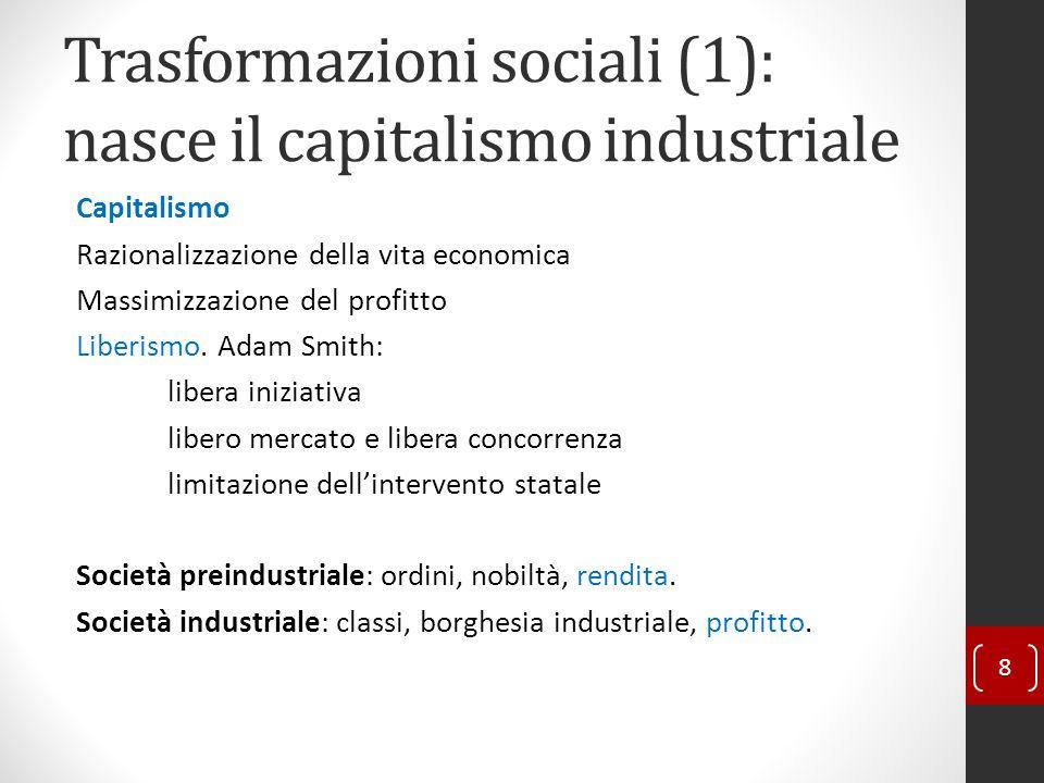 Trasformazioni sociali (1): nasce il capitalismo industriale Capitalismo Razionalizzazione della vita economica Massimizzazione del profitto Liberismo