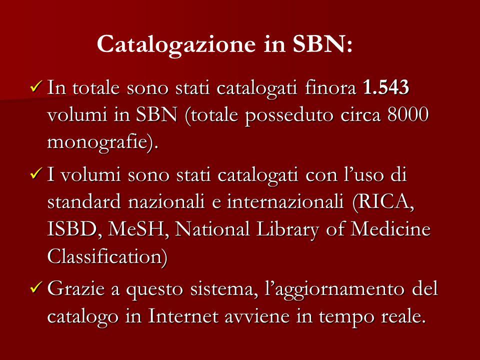 In totale sono stati catalogati finora 1.543 volumi in SBN (totale posseduto circa 8000 monografie). In totale sono stati catalogati finora 1.543 volu
