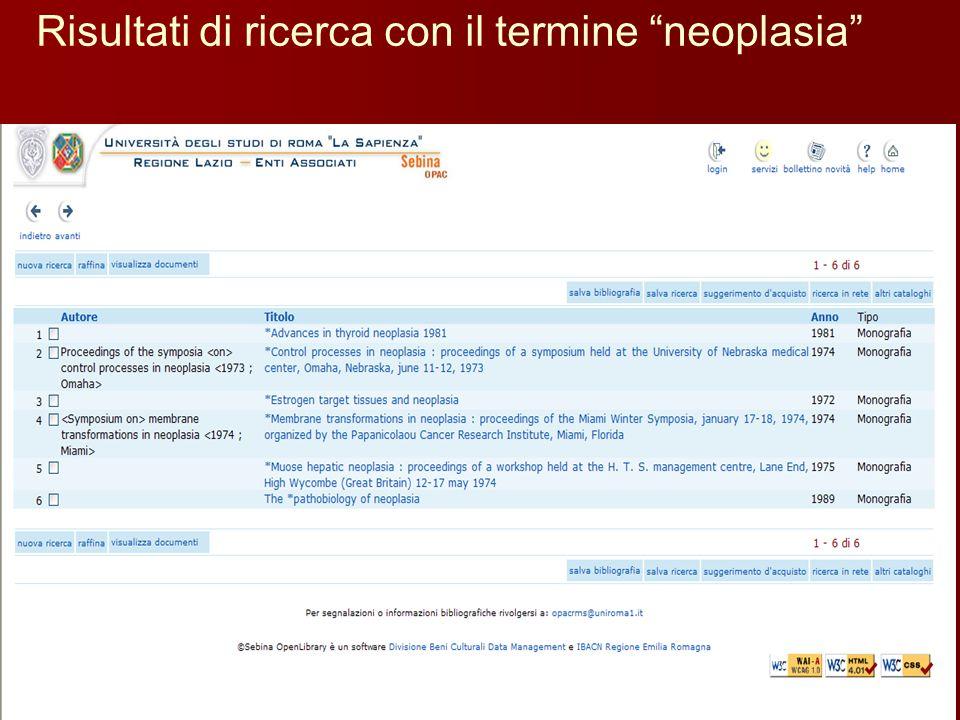 """Risultati di ricerca con il termine """"neoplasia"""""""