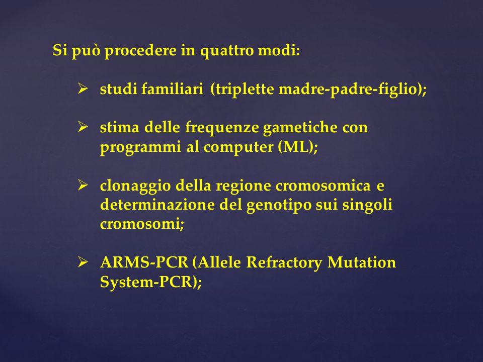 Si può procedere in quattro modi:  studi familiari (triplette madre-padre-figlio);  stima delle frequenze gametiche con programmi al computer (ML);