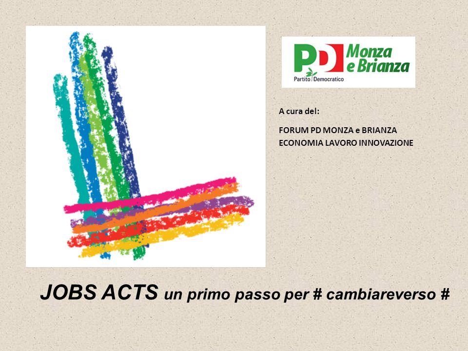 JOBS ACTS un primo passo per # cambiareverso # A cura del: FORUM PD MONZA e BRIANZA ECONOMIA LAVORO INNOVAZIONE