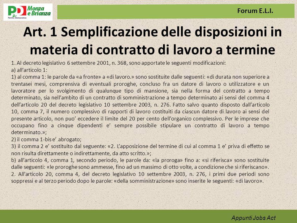 Art. 1 Semplificazione delle disposizioni in materia di contratto di lavoro a termine Appunti Jobs Act 1. Al decreto legislativo 6 settembre 2001, n.