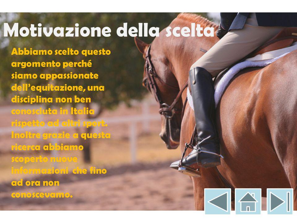 Motivazione della scelta Abbiamo scelto questo argomento perché siamo appassionate dell'equitazione, una disciplina non ben conosciuta in Italia rispetto ad altri sport.