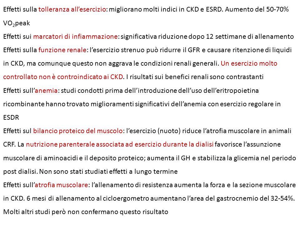 Effetti sulla tolleranza all'esercizio: migliorano molti indici in CKD e ESRD.