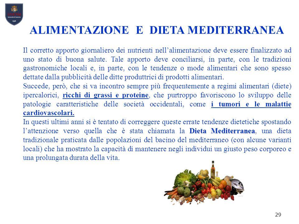29 ALIMENTAZIONE E DIETA MEDITERRANEA Il corretto apporto giornaliero dei nutrienti nell'alimentazione deve essere finalizzato ad uno stato di buona salute.
