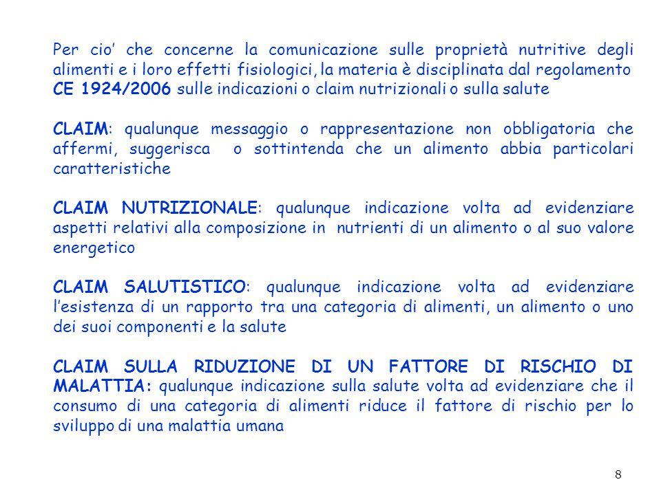 9 Il Regolamento CE 1924/2006 introduce anche le definizioni di: SOSTANZE NUTRITIVE, proteine, carboidrati, grassi, fibre, sodio, vitamine e minerali, elencati nella direttiva 90/496 CE e le sostanze che appartengono o sono componenti di una di tali categorie SOSTANZA DI ALTRO TIPO: una sostanza diversa da quelle nutritive che abbia un effetto nutrizionale o fisiologico