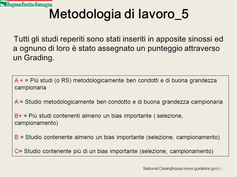 11 Metodologia di lavoro_5 Tutti gli studi reperiti sono stati inseriti in apposite sinossi ed a ognuno di loro è stato assegnato un punteggio attraverso un Grading.