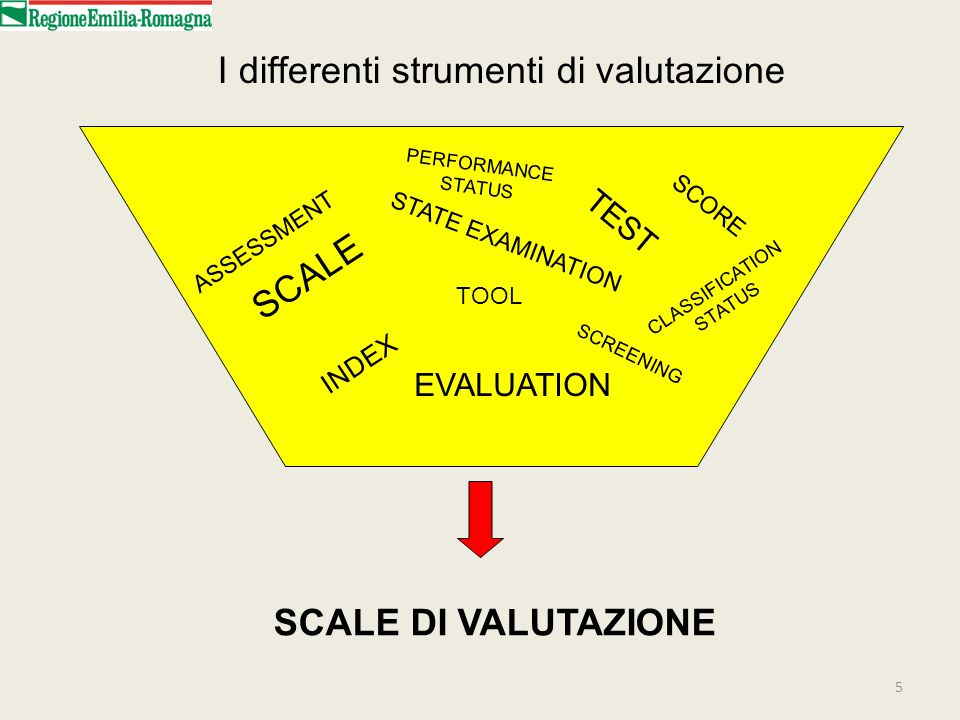 5 I differenti strumenti di valutazione TOOL ASSESSMENT SCALE SCORE TEST CLASSIFICATION STATUS INDEX PERFORMANCE STATUS SCREENING STATE EXAMINATION EV