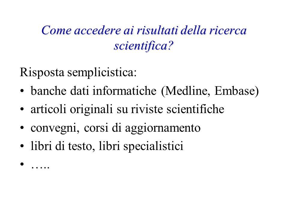 Come accedere ai risultati della ricerca scientifica? Risposta semplicistica: banche dati informatiche (Medline, Embase) articoli originali su riviste