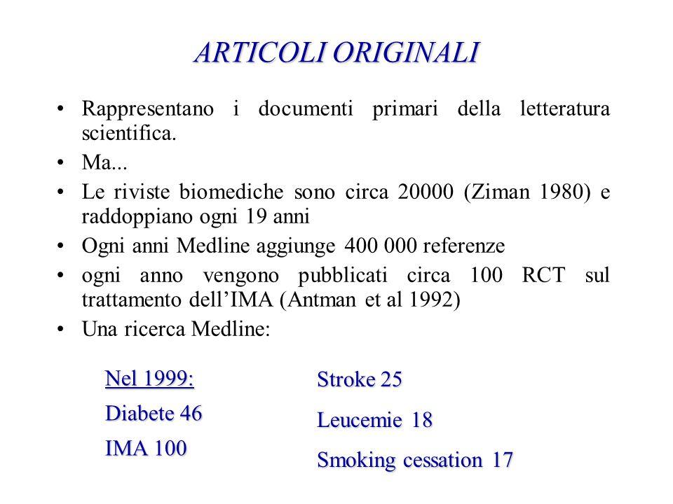 ARTICOLI ORIGINALI ARTICOLI ORIGINALI Rappresentano i documenti primari della letteratura scientifica. Ma... Le riviste biomediche sono circa 20000 (Z