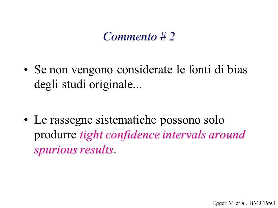 Commento # 2 Se non vengono considerate le fonti di bias degli studi originale... tight confidence intervals around spurious resultsLe rassegne sistem