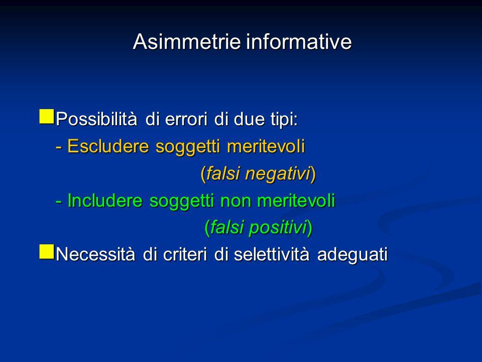 Asimmetrie informative Possibilità di errori di due tipi: Possibilità di errori di due tipi: - Escludere soggetti meritevoli (falsi negativi) (falsi negativi) - Includere soggetti non meritevoli (falsi positivi) (falsi positivi) Necessità di criteri di selettività adeguati Necessità di criteri di selettività adeguati