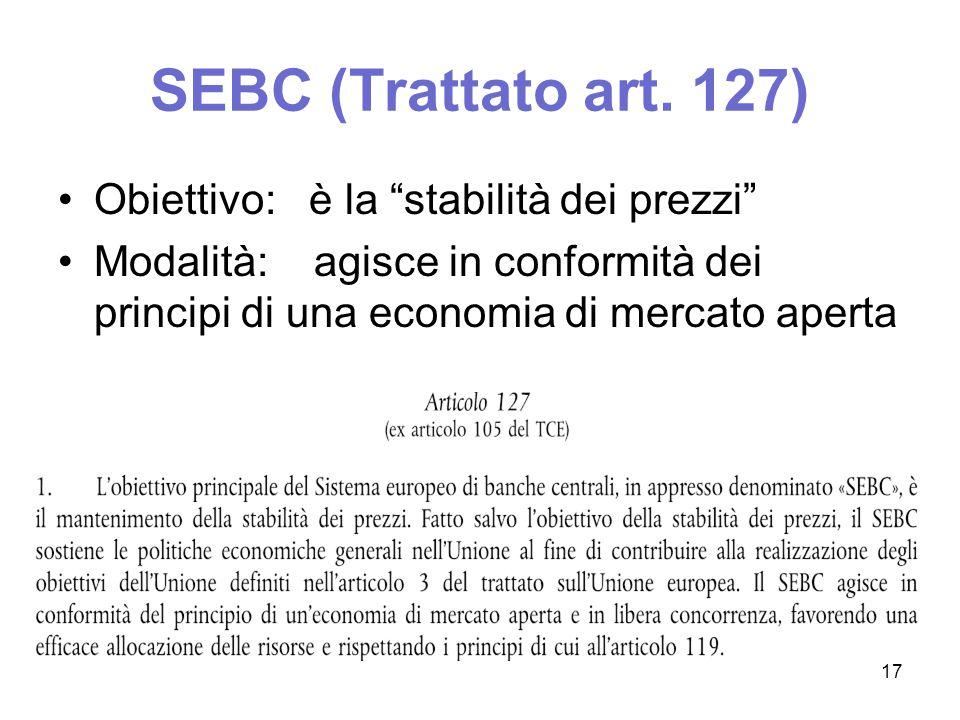 L'autonomia della banca centrale -separazione istituzionale tra i soggetti preposti a creare moneta Il divieto di finanziamento monetario del bilancio Credibilità delle banche centrali sistema consortile: Eurosistema 18