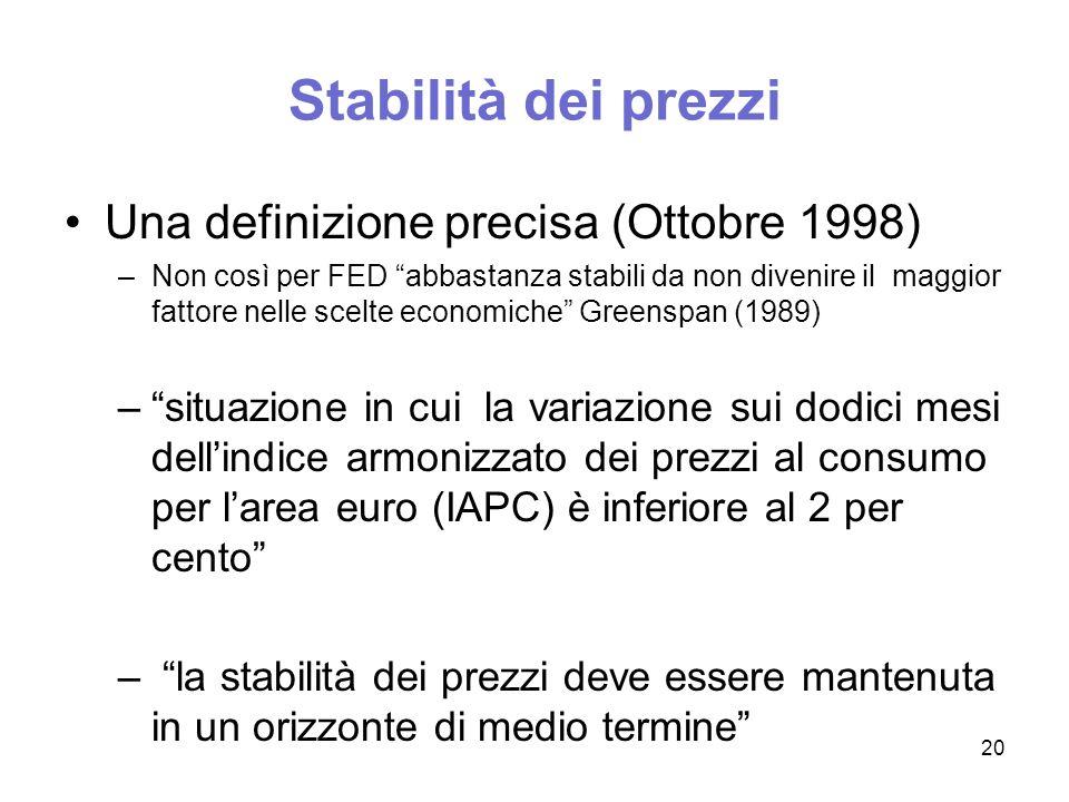 Stabilità dei prezzi la strategia si compone di tre elementi: 1.la definizione quantitativa (misura monetaria) 2.