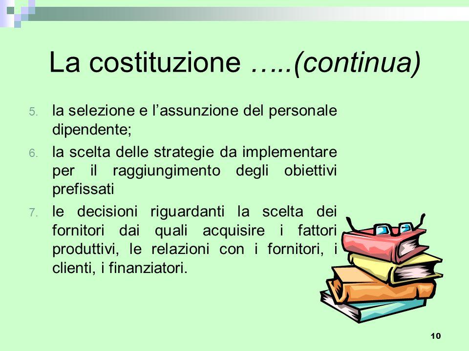 10 La costituzione …..(continua) 5. la selezione e l'assunzione del personale dipendente; 6. la scelta delle strategie da implementare per il raggiung