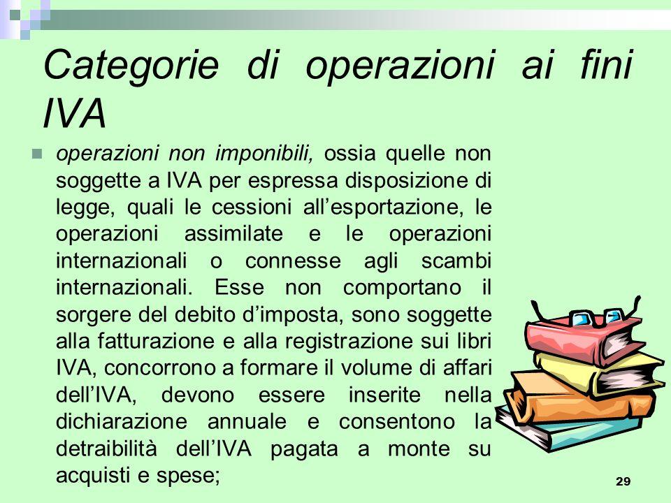 29 Categorie di operazioni ai fini IVA operazioni non imponibili, ossia quelle non soggette a IVA per espressa disposizione di legge, quali le cession